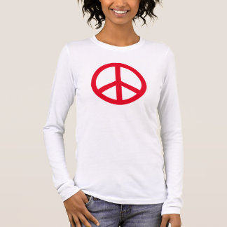 Bright Red Peace Symbol Personalized Long Sleeve T-Shirt