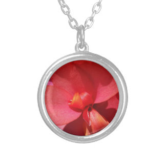 bright red petals silver plated necklace