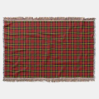 bright red plaid print, black yellow stripe throw blanket