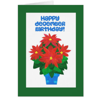 Bright Red Poinsettia December Birthday Card