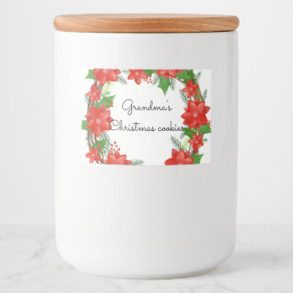 Bright Red Poinsettia Wreath Christmas Holiday Food Label