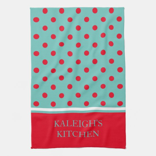 Bright Red Polka Dots on Light Teal Personalized Hand Towels