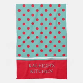 Bright Red Polka Dots on Light Teal Personalized Kitchen Towel