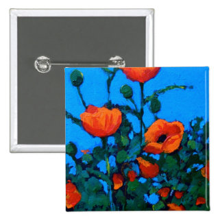 BRIGHT RED POPPIES 2 INCH SQUARE BUTTON