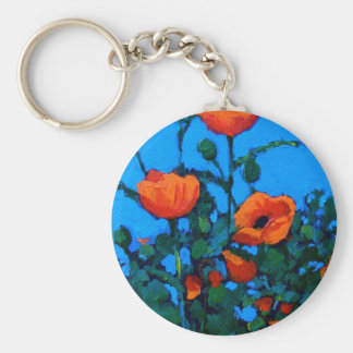 BRIGHT RED POPPIES BASIC ROUND BUTTON KEYCHAIN