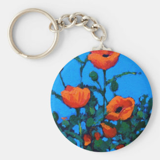 BRIGHT RED POPPIES KEYCHAIN