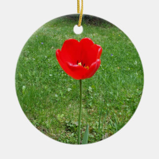 Bright Red  Poppy Round Ceramic Ornament