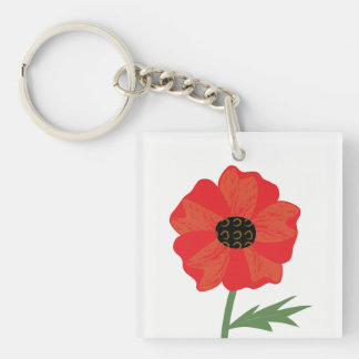 Bright Red Poppy Stem Single-Sided Square Acrylic Keychain