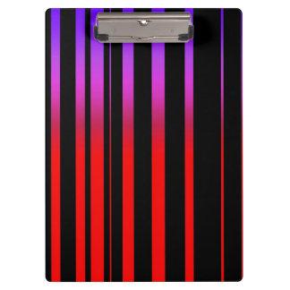 Bright Red Purple and Black Stripes Clipboard