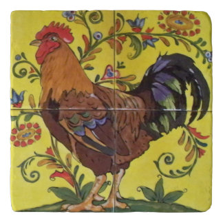 Bright Red Rooster Chicken Yellow Folk Tile Trivet