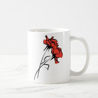 Bright Red Rose Brushstroke Coffee Mug