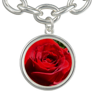 Bright Red Rose Flower Beautiful Floral Charm Bracelets