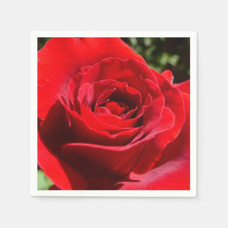Bright Red Rose Flower Beautiful Floral Disposable Napkins