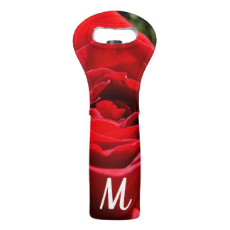 Bright Red Rose Flower Beautiful Floral Wine Bag