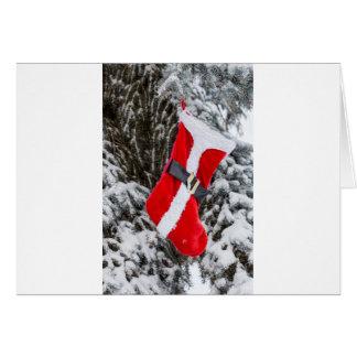Bright Red Santa Stocking Card