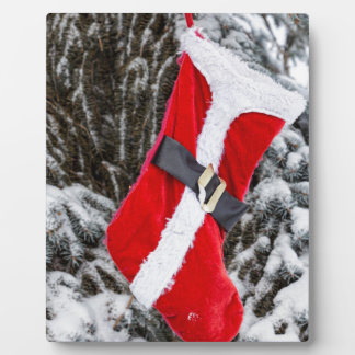 Bright Red Santa Stocking Plaque