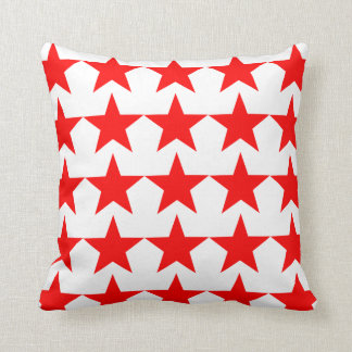 Bright Red Star Pattern on White Throw Pillow