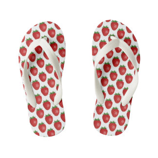 Bright Red Strawberries Kids Flip Flops