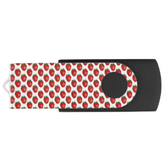 Bright Red Strawberries On White, USB Flash Drive