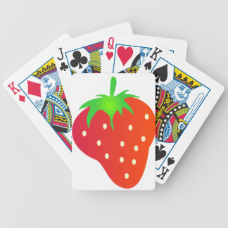 Bright Red Strawberry with Leaves Bicycle Playing Cards