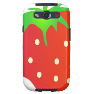 Bright Red Strawberry with Leaves Galaxy SIII Cases