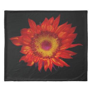 Bright Red Sunflower Black Duvet Cover