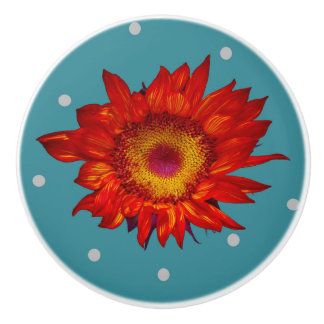 Bright Red Sunflower on Blue Ceramic Pull Knob