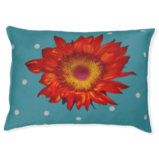 Bright Red Sunflower on Blue Dog Bed Large Dog Bed