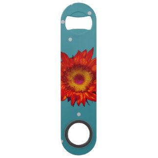 Bright Red Sunflower on Blue Speed Bottle Opener