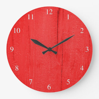 Bright Red Textured Wood Small Numbers Large Clock