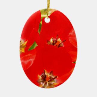Bright Red Tulips Ceramic Ornament