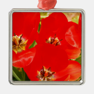 Bright Red Tulips Metal Ornament