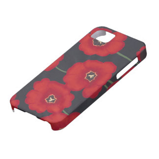 Bright Red Tulips on Black iPhone 5 Cases
