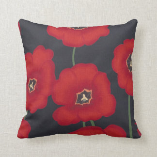 Bright Red Tulips on Black, Pillows
