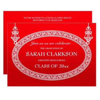 Bright Red Vintage Graduation Party Invitation