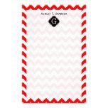 Bright Red White Chevron Black Quatrefoil Monogram