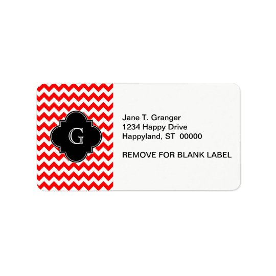Bright Red White Chevron Black Quatrefoil Monogram Label
