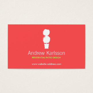BRIGHT RED & WHITE TOPIARY LOGO Business Card