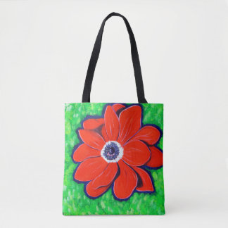 Bright Red Windflower Tote Bag