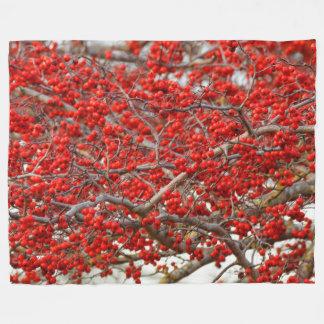 Bright Red Winterberries Holly Tree Berries Fleece Blanket