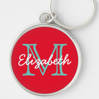 Bright Red With Light Teal and White Monogram Silver-Colored Round Keychain