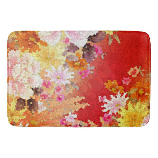 Bright Red Yellow Floral Collage Bath Mat