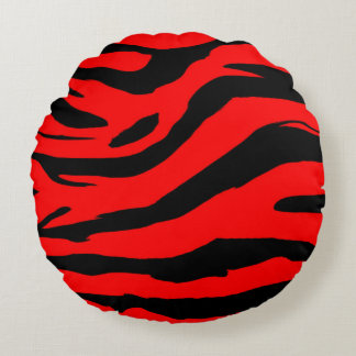 Bright Red Zebra Print Round Pillow