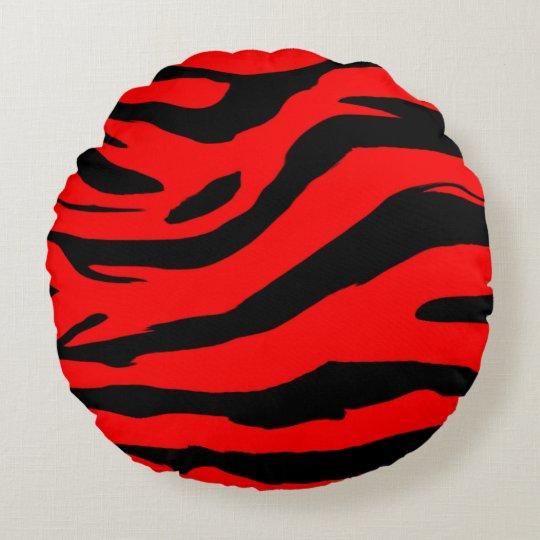 Bright Red Zebra Print Round Pillow