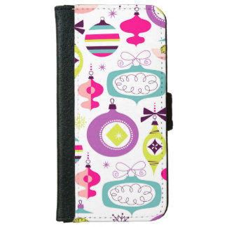 Bright Retro Christmas Ornaments iPhone 6 Wallet Case