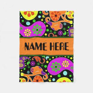 Bright Retro Paisley Pattern Custom Name Blanket