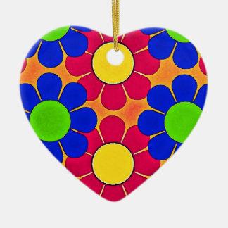 Bright Retro Pop  Power Flowers Ceramic Ornament