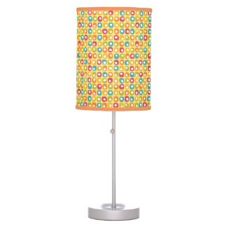 Bright retro square dots pattern red teal yellow table lamp
