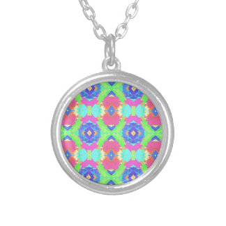 Bright Rich Pastel Tribal Pattern Silver Plated Necklace