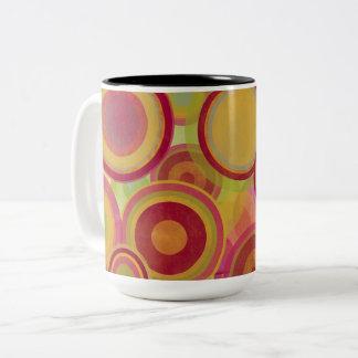 Bright rings of colors Two-Tone coffee mug